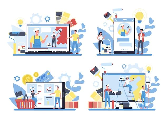 Pittore, decoratore servizio online o piattaforma su diversi set di concetti di dispositivi. workshop online, consultazione o video tutorial. concetto di processo di aggiornamento e riparazione. Vettore Premium