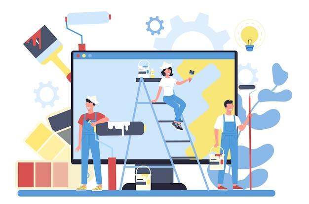 Pittore, decoratore servizio online o piattaforma Vettore Premium
