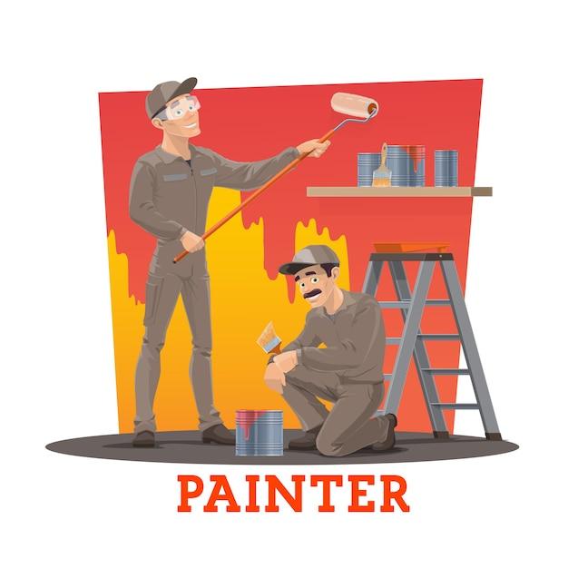 Pittori che dipingono parete, operai di servizio di pittura Vettore Premium