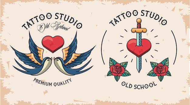 Coppia di loghi tattoo studio Vettore Premium