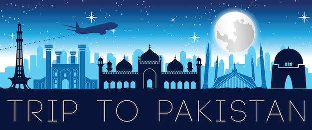 Progettazione famosa della siluetta di notte del punto di riferimento del pakistan Vettore Premium