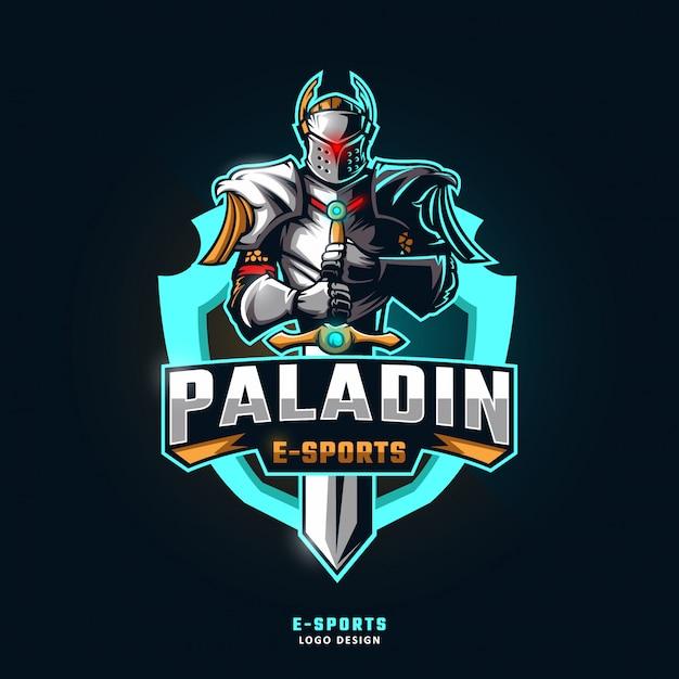 Logo della mascotte sport paladin Vettore Premium