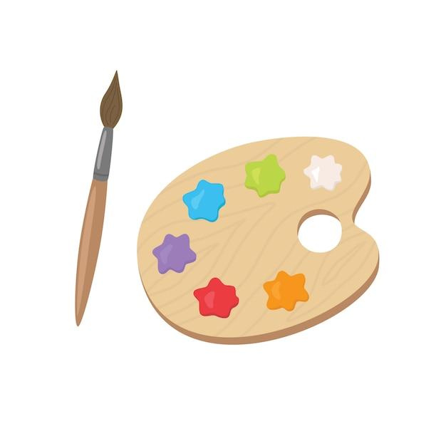 Tavolozza con colori acrilici e pennello Vettore Premium