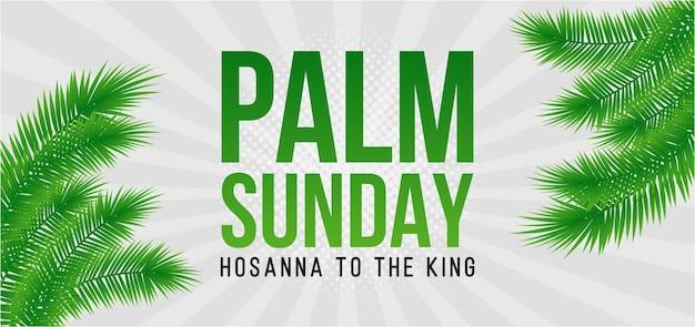 Biglietto di auguri della domenica delle palme, poster con bordo di foglie di palma realistick, cornice. sfondo. Vettore Premium