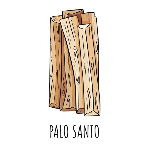 L'aroma dell'albero di legno santo di palo santo si attacca dall'america latina. fascio di incenso che brucia macchie Vettore Premium