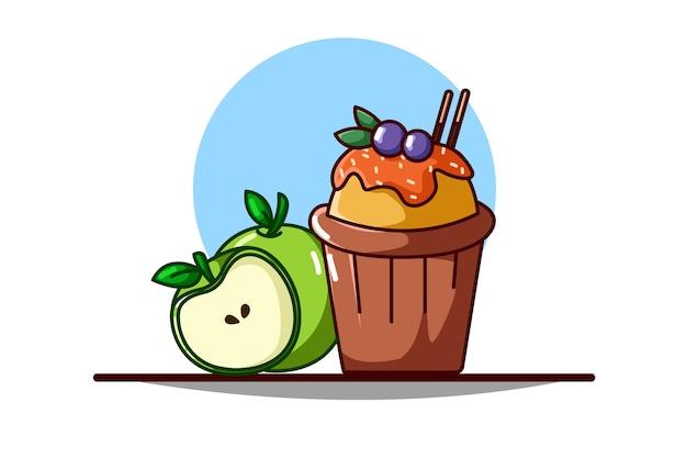 Frittella e frutta mela Vettore Premium