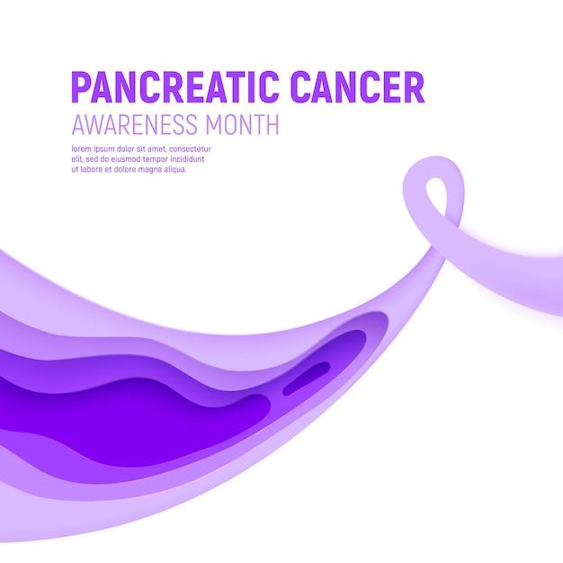 Concetto del taglio della carta di mese di consapevolezza del cancro del pancreas. nastro viola di arte della carta - assistenza sanitaria di novembre. campagna sanitaria internazionale per le persone. Vettore Premium