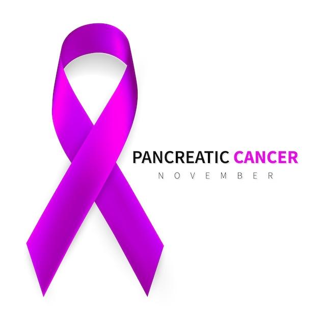Mese della consapevolezza del cancro al pancreas. simbolo del nastro viola realistico. Vettore Premium