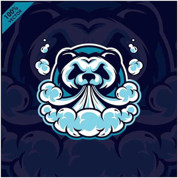Sigaretta elettronica a vapore a testa di panda, vaporizzatore, sigaretta per vaporizzatore, fumo elettronico Vettore Premium