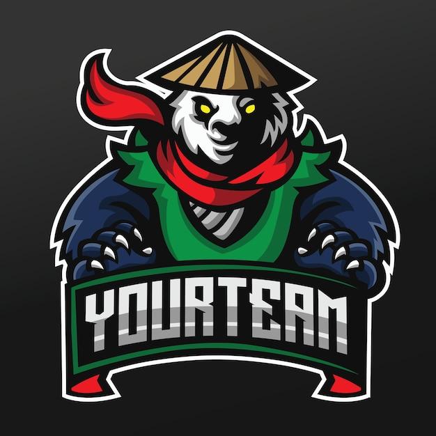 Panda kungfu fighter mascot sport illustration design per logo esport gaming team squad Vettore Premium