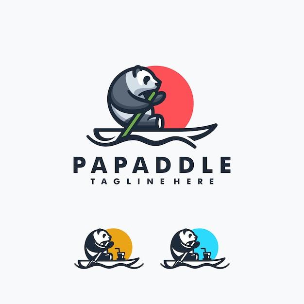 Panda paddle design concept Vettore Premium