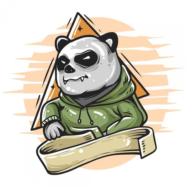 Panda indossa una felpa con cappuccio Vettore Premium