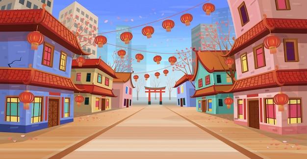 Panorama strada cinese con vecchie case, arco cinese, lanterne e una ghirlanda. illustrazione vettoriale di strada cittadina in stile cartone animato. Vettore Premium
