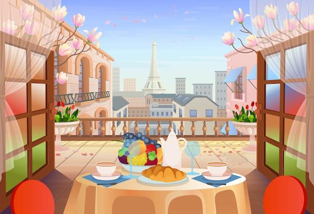 Panorama paris street con porte aperte, tavolo con sedie, vecchie case, torre e fiori. uscita sulla terrazza con vista sulla città illustrazione della strada cittadina. Vettore Premium