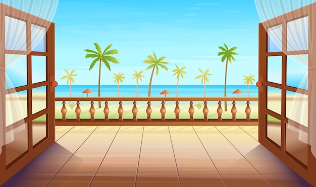 Panorama isola tropicale con porte aperte, palme, mare e spiaggia. uscita sulla terrazza con vista sull'isola tropicale. illustrazione in stile cartone animato. Vettore Premium