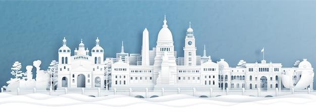 Vista panoramica di bueno aires, skyline di argentina con monumenti di fama mondiale dell'indonesia in carta tagliata Vettore Premium