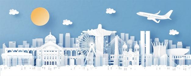 Vista panoramica di rio de janeiro, brasile e skyline della città con punti di riferimento di fama mondiale Vettore Premium