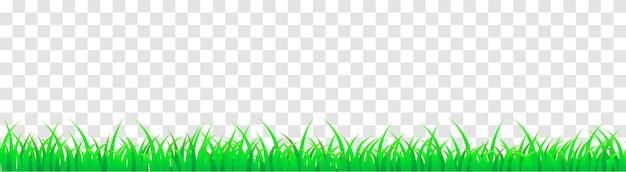 Erba verde panoramica senza soluzione di continuità. illustrazione del fumetto di vettore per piè di pagina e design isolato. Vettore Premium