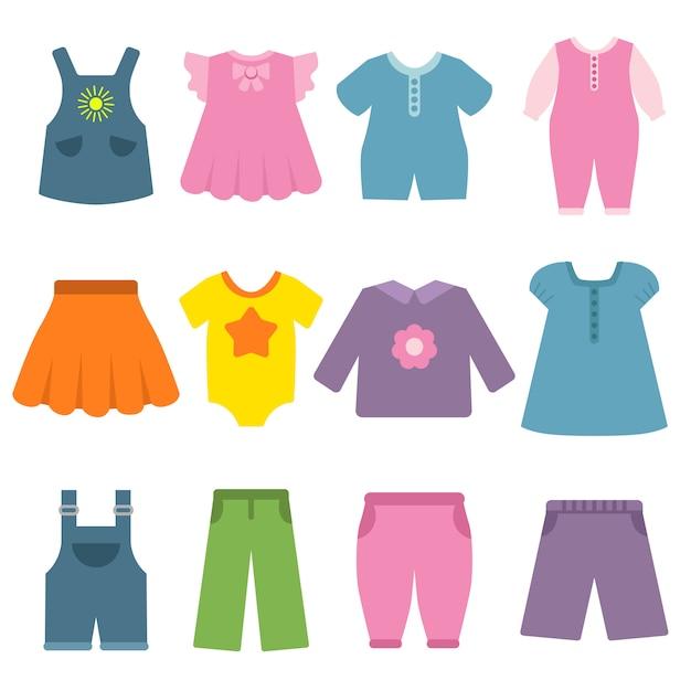 Pantaloni, vestiti e altri vestiti diversi per bambini e neonati Vettore Premium