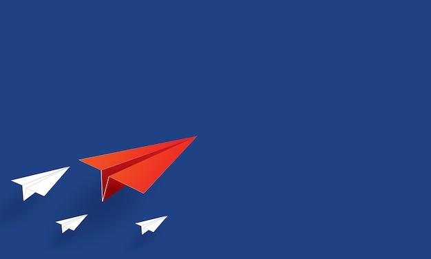 Arte di carta di aerei di carta che volano, affari di ispirazione Vettore Premium
