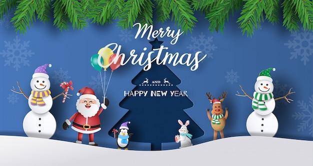 Albero Di Natale Con Foto Amici.Stile Di Arte Di Carta Di Babbo Natale Con Gli Amici Con Sfondo Di Albero Di Natale Vettore Premium