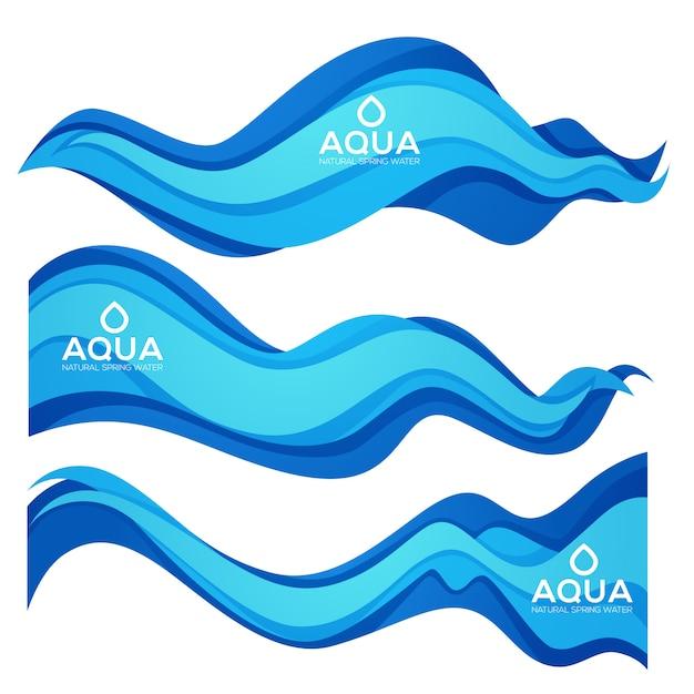 Elemento di disegno di vettore di flusso aqua di primavera taglio carta per il tuo moderno acqua fresca etichette, emblemi e volantini Vettore Premium