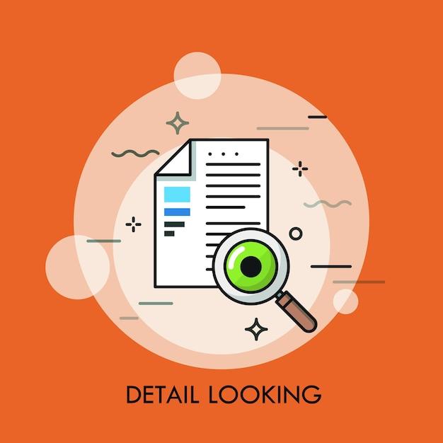 Documento cartaceo, lente d'ingrandimento e occhio umano. concetto di ricerca dei dettagli, ispezione del contratto, verifica del testo, controllo dell'accuratezza Vettore Premium