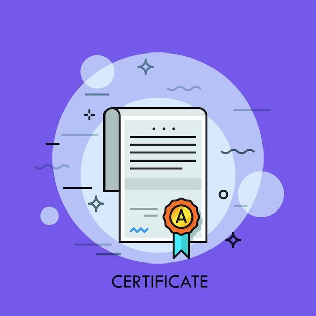 Documento cartaceo con testo, firma, sigillo di wafer e nastro. Vettore Premium