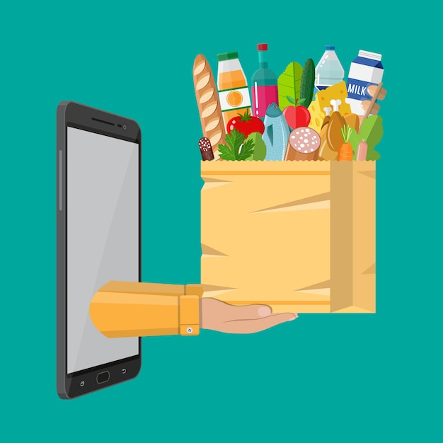 Shopping bag di carta piena di prodotti alimentari Vettore Premium