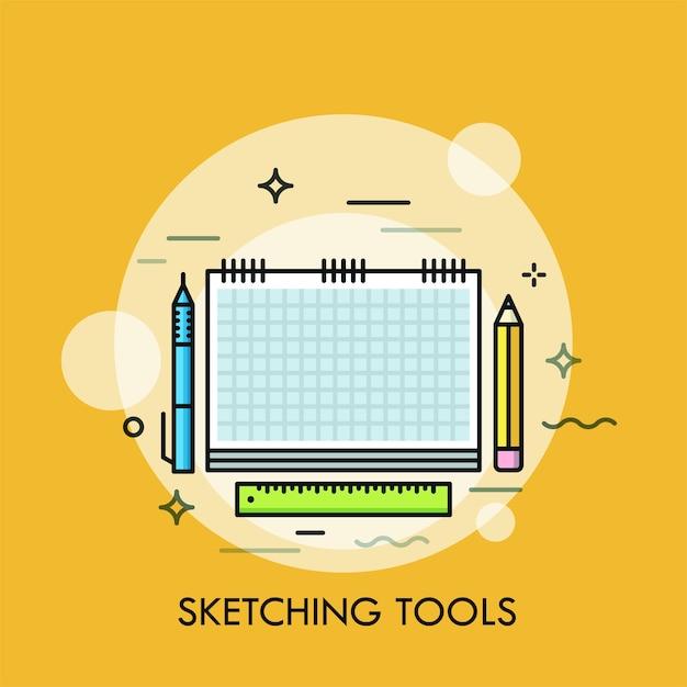 Taccuino di carta, penna, matita e righello. Vettore Premium