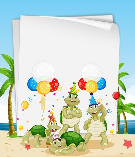 Modello di carta con simpatici animali in tema di festa Vettore Premium