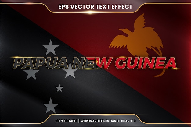 Papua nuova guinea con la sua bandiera nazionale del paese, stile effetto testo modificabile con concetto di colore oro sfumato Vettore Premium