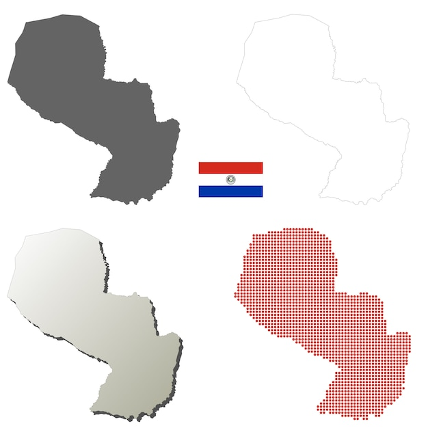 Set di mappa muta vettoriale paraguay Vettore Premium