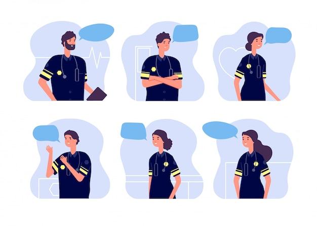 Paramedico. equipe medica, personale di pronto soccorso. avatar di dottori, ambulanze moderne con stetoscopi e fumetti. infermieri impostati Vettore Premium