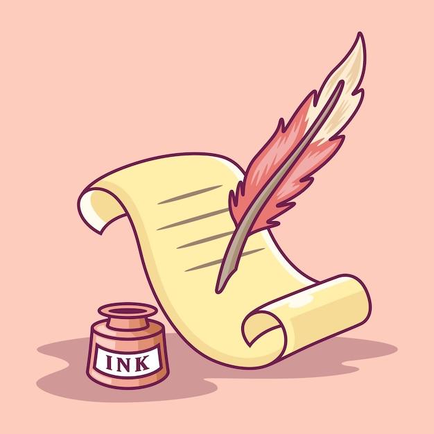 Illustrazione dell'icona della penna della penna e della pergamena. scrittura della penna della piuma su carta. strumento icona concetto bianco isolato su sfondo rosa Vettore Premium