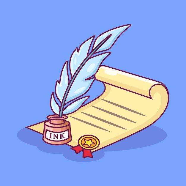 Illustrazione dell'icona della penna della penna e della pergamena. scrittura della penna della piuma su carta con la medaglia. icona dello strumento concetto isolato bianco su sfondo viola Vettore Premium