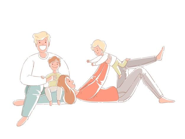 Genitori e figli sono seduti sul pavimento. famiglia felice Vettore Premium