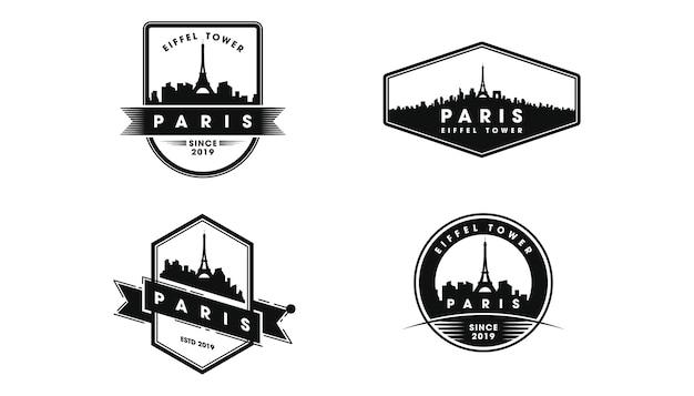 Logo distintivo di parigi. sagoma di skyline e luoghi d'interesse di parigi Vettore Premium