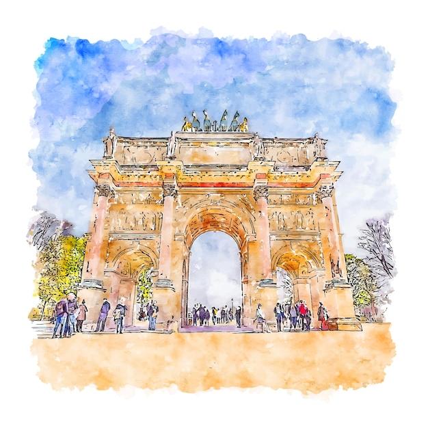 Illustrazione disegnata a mano di schizzo dell'acquerello di parigi francia Vettore Premium