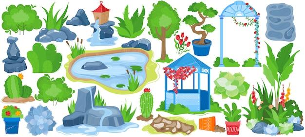 Insieme dell'illustrazione del paesaggio del giardino del parco, raccolta di giardinaggio del fumetto con l'albero naturale di verde di estate, vaso di fiore, fontana Vettore Premium