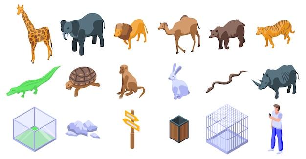 Set di icone di zoo del parco Vettore Premium