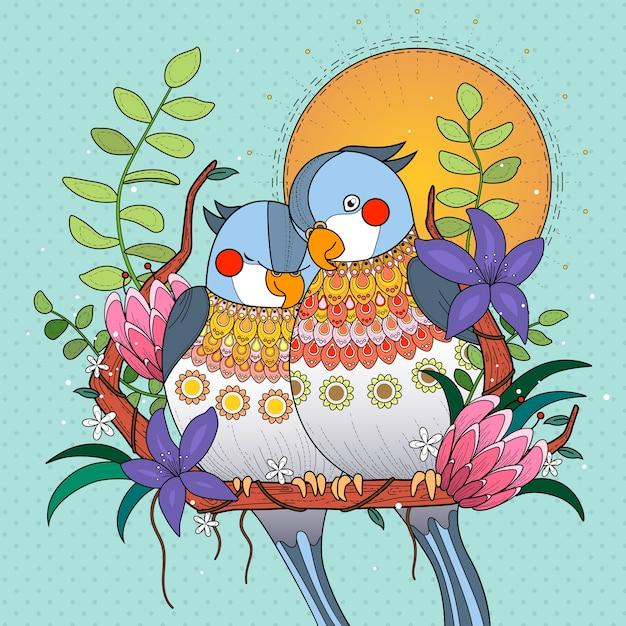 I pappagalli si accoccolano tra loro al tramonto Vettore Premium