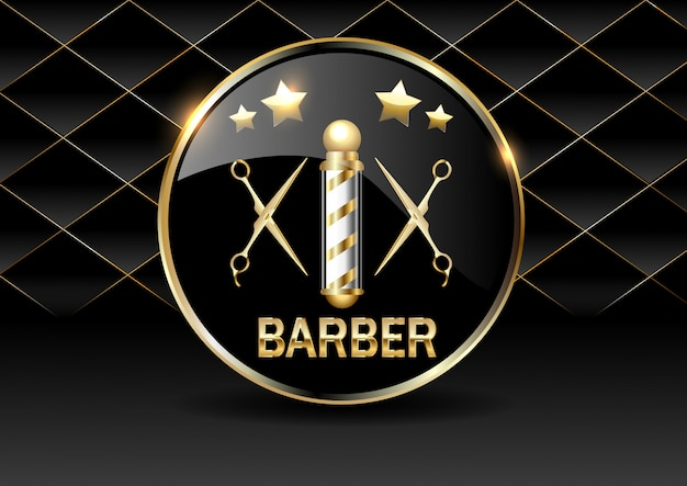Parte dell'elemento di design del negozio di barbiere su uno sfondo trapuntato scuro in oro. Vettore Premium