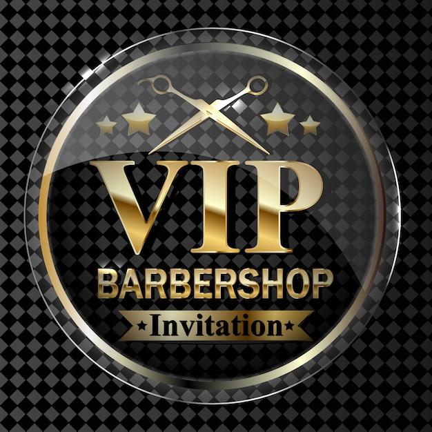 Parte dell'elemento di design del negozio di barbiere su uno sfondo trasparente in oro. Vettore Premium