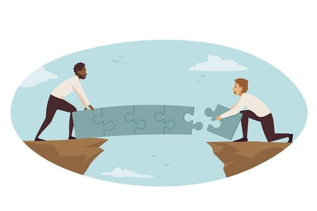 Partnership, connessione, collaborazione aziendale. Vettore Premium