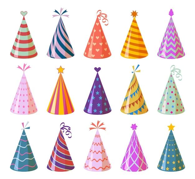 Cappellini da festa. compleanno del fumetto colorato e cappelli di carta di carnevale, anniversario e elementi di decorazione di vacanze di natale per bambini insieme divertente del cono di festival Vettore Premium