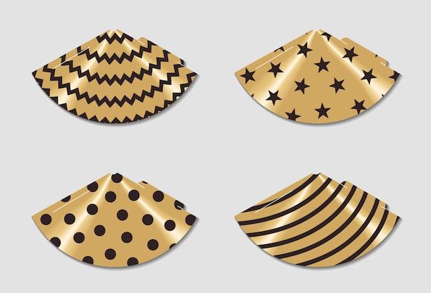 Cappelli da festa stampabili. stampa e taglia. elementi di buon compleanno. set di modelli di coni per andare in vacanza. Vettore Premium