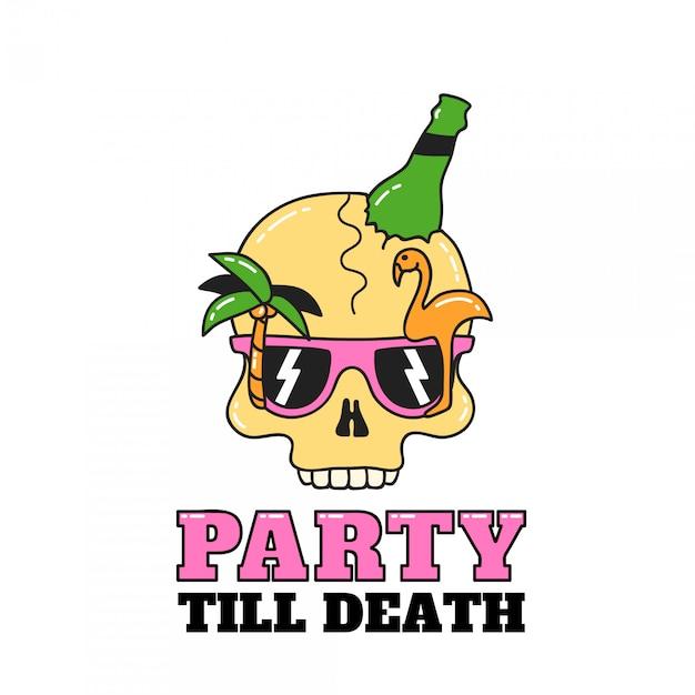 Cranio da festa per volantini o t-shirt. illustrazione isolata on white Vettore Premium