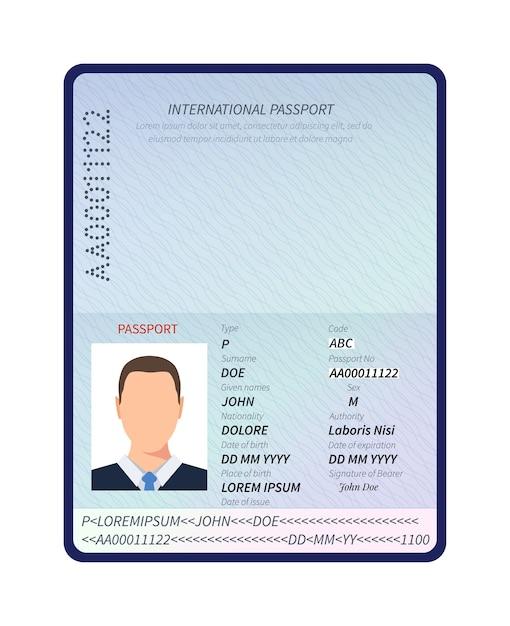 Passaporto. apri documento di identità con ritratto di foto maschile e spazio vuoto per il modello di vettore dei timbri di visto di immigrazione Vettore Premium