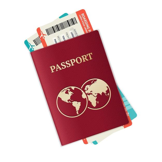 Passaporto con biglietti concetto di vacanza e vocazione Vettore Premium